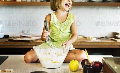 Girl Cooking Baking Fun Enjoyment Concept