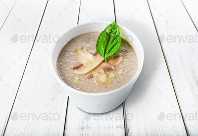 Hot food delivery - mushroom soup isolated