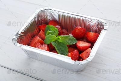 Strawberry salad closeup, vegan food.