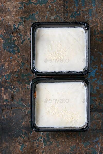 Lasagna in plastic box