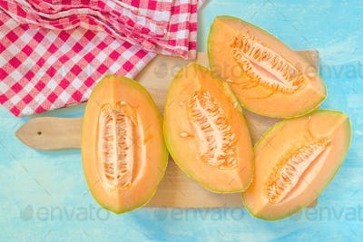 Melon on rustic table