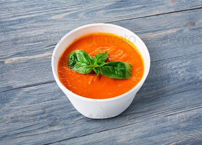 Hot food delivery - tomato gazpacho soup at blue wood