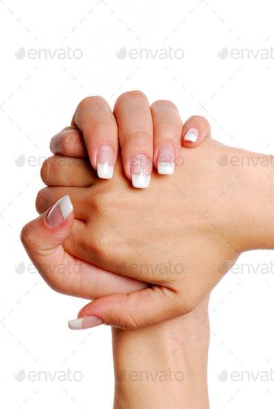 Fingernail. Woman hand.