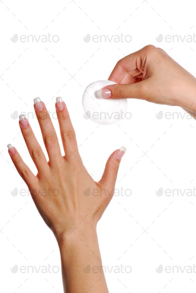Nail care. Cotton Swab.