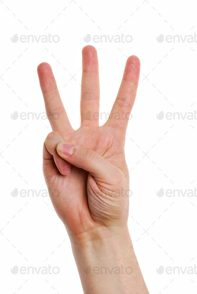 Man hand with  Gesture number three