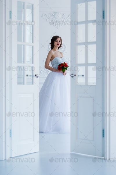 Fashion photo of a beautiful bride in the light room next to the doors