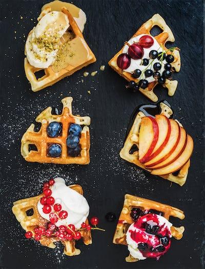Warm belgian homemade waffles