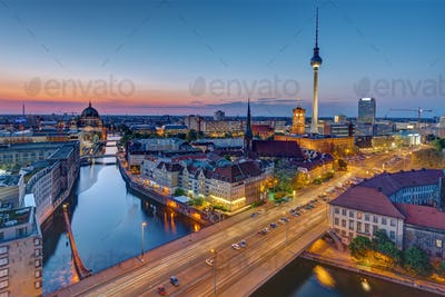 The Berlin skyline at the blue hour