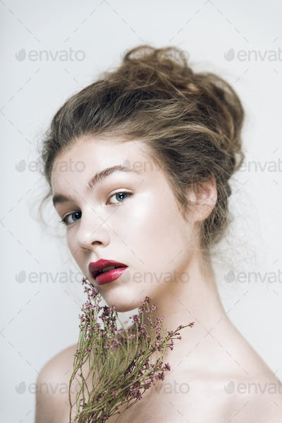 Fashion model original hairstyle clean face natural skin beauty highlight