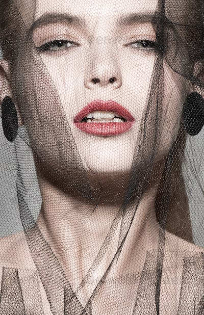 veil fashion woman art vogue photo red lips professional beauty model face