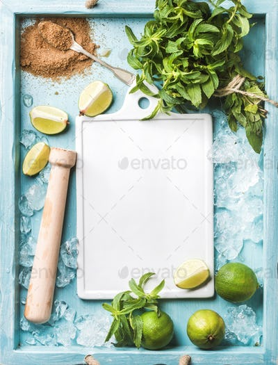 Ingredients for making mojito summer cocktail