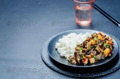 eggplant tofu teriyaki with rice