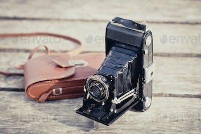 Old folding camera