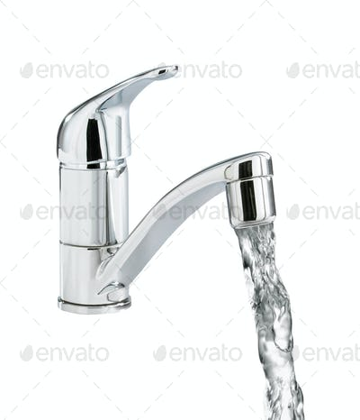 Closeup of water-supply faucet