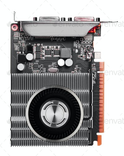Computer videocard isolated on the white background