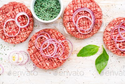 Raw ground beef meat cutlet for cooking burgers