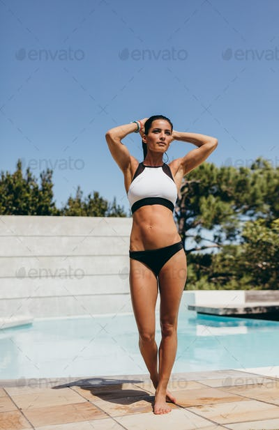 Beautiful young woman after swimming