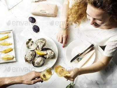 Couple Celebration Drinks Champagne Love Concept