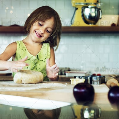 Kid Baking Cooking Cookies Fun Concept