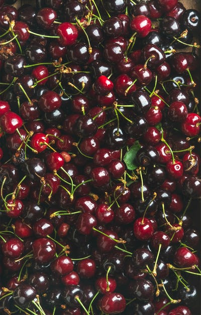Background of dark red sweet cherries over wooden backdrop