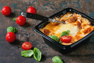 Lasagna in plastic box