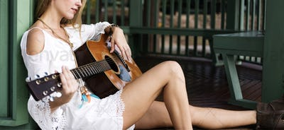 Guitar Girl Relaxation Casual Instrument Leisure Concept