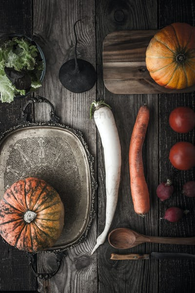 Vegetable mix with vintage tray and kitchenware with film filter effect