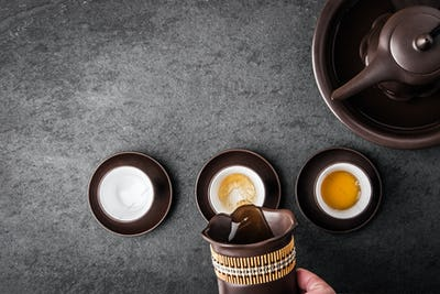 Kettle for tea ceremony on a gray stone table