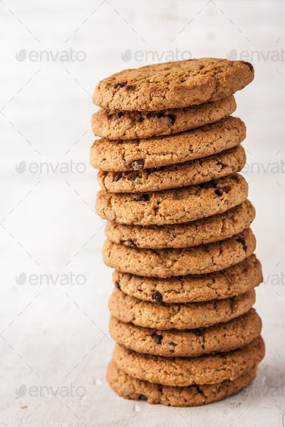 Cookies with chocolate chips  on the white table