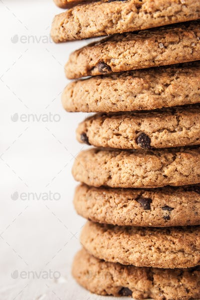 Cookies with chocolate chips  vertical