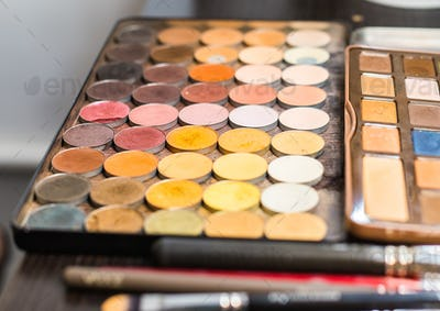set of decorative cosmetics, Eyeshadow Palette closeup