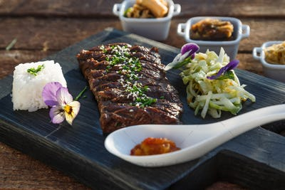 Korean bbq beef with marinated vegetables
