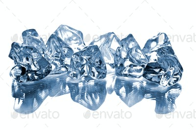 the ice cubes on glass table