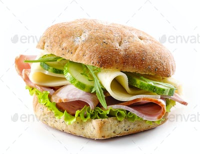 sandwich with bacon, cheese and cucumber