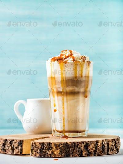 Latte macchiato with whipped cream