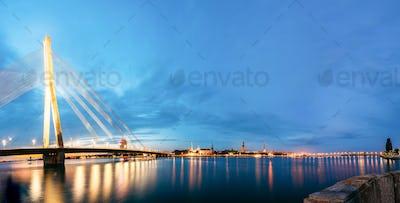 Vansu Bridge In Riga, Latvia. Shroud Bridge.  Cable-Stayed Bridg
