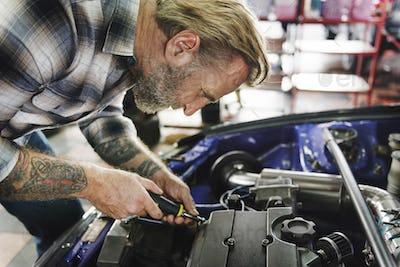 Steering Repair Maintain Automobile Technical Concept