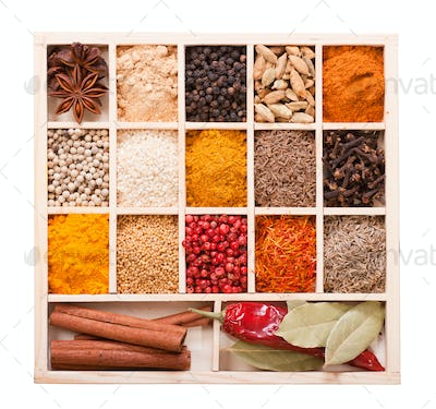 Various spices in the wooden box