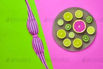 Fashion Bright Summer Color.Tropical fruit.Minimal