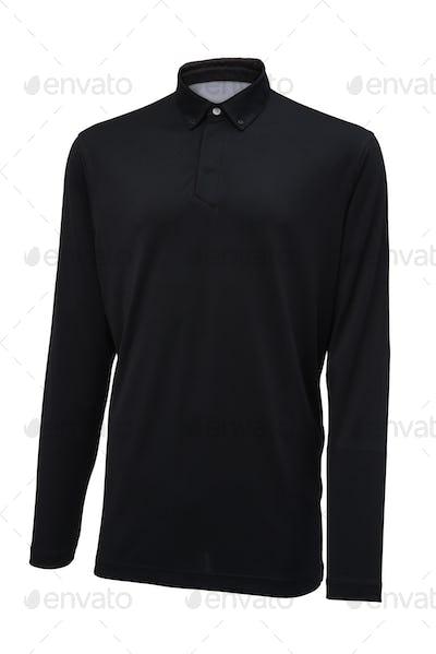 Long sleeve golf black sport shirt