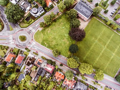 Aerial view of Dutch town, builidings, park, roundabout