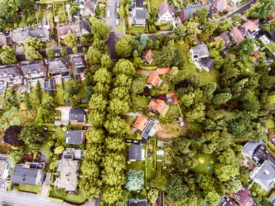 Aerial view of Dutch town, houses with gardens, green park