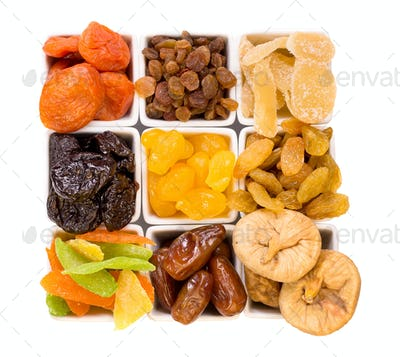Bowls of various dried fruits