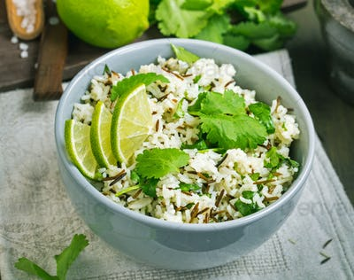 Cilantro lime basmati rice above