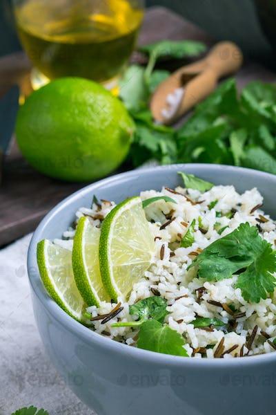 Cilantro lime basmati rice closeup