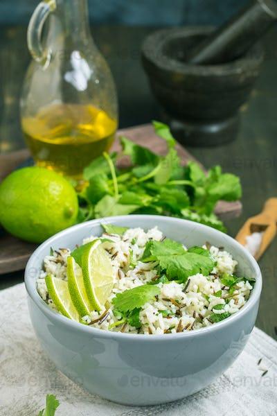 Cilantro lime basmati rice vartical