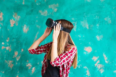 technology, virtual reality, entertainment and people concept - woman with vr headset playing game.
