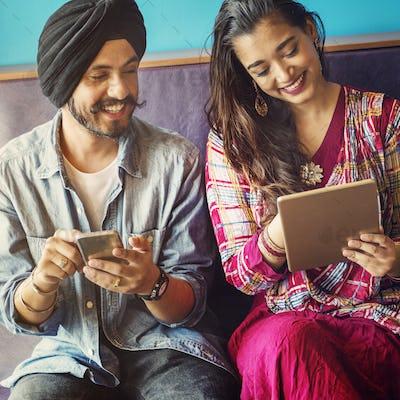Indian People Togetherness Communication Digital Device Concept