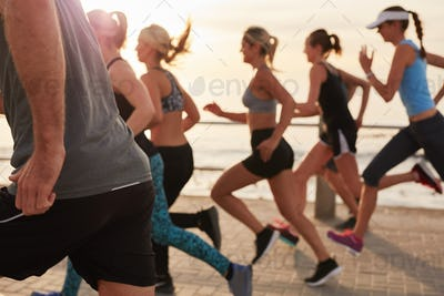Young people training for marathon race