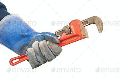 Man holding plumbers wrench